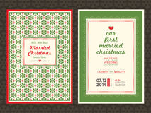 Шаблон карточки приглашения свадьбы рождества Стоковое Фото