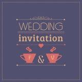 Шаблон карточки приглашения свадьбы иллюстрация штока