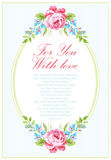 Шаблон карточки с розами пинка сада Стоковая Фотография RF