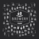 Шаблон карточки с элементом винзавода пива вектор Стоковые Изображения RF