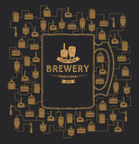 Шаблон карточки с элементом винзавода пива вектор Стоковые Изображения