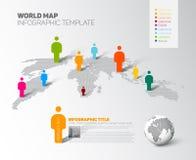 Шаблон карты мира infographic с диаграммами иллюстрация вектора