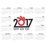 Шаблон 2017 календарей Календарь на 2017 год Стоковые Изображения