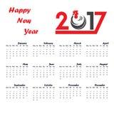 Шаблон 2017 календарей Календарь на 2017 год Стоковая Фотография