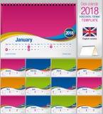 Шаблон календаря 2018 треугольника стола красочный Размер: 210mm x 150mm Формат A5 голубой вектор неба радуги изображения облака Стоковое Изображение RF