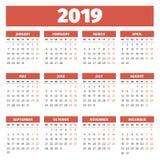Шаблон 2019 календаря Стоковое фото RF