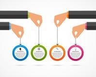 Шаблон конструкции Infographics Человеческие руки держа знамена круга Стоковая Фотография