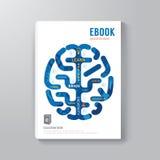 Шаблон концепции мозга дизайна цифров книги крышки Стоковое Изображение RF