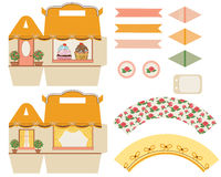 Шаблон коробки пирожного Стоковое фото RF