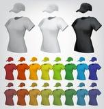 Шаблон крышки и футболки простых женщин иллюстрация штока