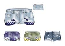 Шаблон маленьких девочек сорвал дизайн шортов джинсовой ткани Стоковое фото RF