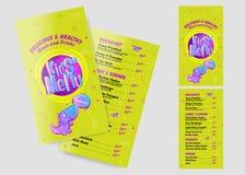Шаблон меню детей в стиле шаржа Яркое и красочное Illustr иллюстрация вектора