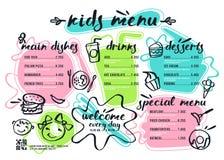Шаблон меню детей с литерностью и значками Стоковое фото RF