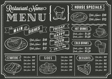 Шаблон меню ресторана доски Стоковое Изображение RF