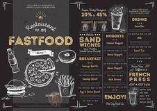 Шаблон меню фаст-фуда кафа ресторана Стоковое Изображение RF
