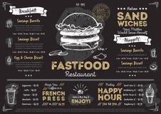 Шаблон меню фаст-фуда кафа ресторана Стоковая Фотография RF