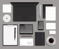 Шаблон модель-макета корпоративного дизайна офиса взгляд сверху Стоковые Фотографии RF
