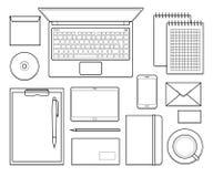 Шаблон модель-макета корпоративного дизайна офиса взгляд сверху Стоковое Изображение RF