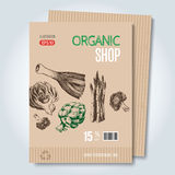 Шаблон нарисованный рукой для продажи в вегетарианском магазине Стоковое фото RF