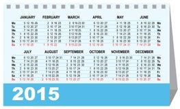 Шаблон 2015 настольного календаря Стоковое Изображение