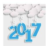 шаблон 2017 Новых Годов с облаком и номерами Стоковые Изображения RF