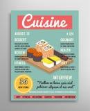 Шаблон обложки журнала Слой еды blogging, кулинарная иллюстрация кухни Стоковое Изображение RF