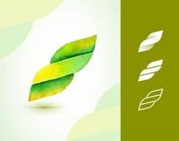 Шаблон логотипа акварели вектора абстрактный Знак eco свирли Стоковая Фотография RF