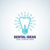 Шаблон логотипа вектора зубоврачебных идей абстрактный с современным оформлением Ярлык концепции зуба и электрической лампочки Ст Стоковое Изображение RF