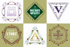 Шаблон логотипа вензеля с элементами орнамента эффектных демонстраций каллиграфическими элегантными Стоковое Изображение