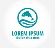 Шаблон логотипа дизайна вектора рыб абстрактный Стоковое Фото