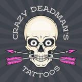 Шаблон логотипа салона татуировки Череп битника Стоковые Изображения
