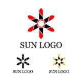 Шаблон логотипа Солнця Стоковые Изображения