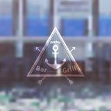 Шаблон логотипа для гриль-ресторана бара Fooda моря Стоковая Фотография