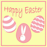 Шаблон открытки пасхи с яичками и зайчик возглавляют Стоковые Изображения