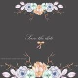 Шаблон открытки с флористическим орнаментом succulents акварели, цветков, ветвей дерева Стоковые Фотографии RF