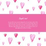 Шаблон поздравительной открытки дня валентинок Сердца Стоковая Фотография RF