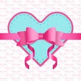 Шаблон поздравительной открытки дня валентинок текстурировано Стоковые Изображения RF