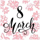 Шаблон поздравительной открытки дня ` s женщин 8-ое марта с цветком нарисованным рукой Стоковая Фотография RF