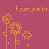 Шаблон поздравительной открытки при ретро цветки стиля, изолированные на белизне Для дня рождения, День матери, пасха, спасибо Стоковые Фотографии RF