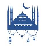 Шаблон поздравительной открытки Рамазана с мечетью, фонариками ramadan и Стоковое Фото