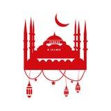 Шаблон поздравительной открытки Рамазана с мечетью, фонариками ramadan Стоковое Изображение RF
