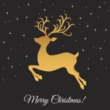 Шаблон поздравительной открытки рождества с золотыми скача оленями Стоковая Фотография