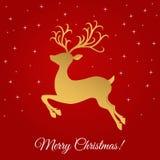 Шаблон поздравительной открытки рождества с золотым северным оленем Стоковое фото RF