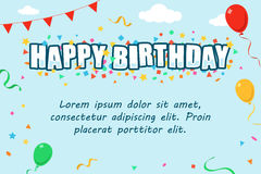 Шаблон поздравительной открытки с днем рождений Стоковая Фотография RF