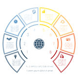 Шаблон полуокружности от infographic 8 вариантов номера Стоковое Изображение RF