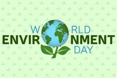 Шаблон предпосылки дня мировой окружающей среды Плакат дня мировой окружающей среды, знамя Для веб-дизайна и интерфейса применени Стоковое Изображение