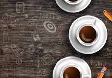 Шаблон предпосылки Infograph с свежим кофе на реальном деревянном столе Стоковое Изображение