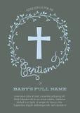 Шаблон приглашения крещения с венком креста и акварели флористическим - вектором Стоковое Изображение RF