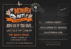 Шаблон приглашения открытки партии изверга хеллоуина Стоковые Фото