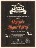 Шаблон приглашения рогульки партии хеллоуина Стоковое Изображение RF